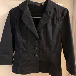 Halogen Black 3/4 Sleeve Cotton Blazer
